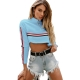 Fashion Women O-neck Patchwork Crop Top With Long Sleeves Light Blue