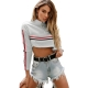 Fashion Women O-neck Patchwork Crop Top With Long Sleeves Grey