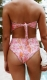 Flora printing higt waist two piece bikini set