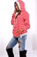 Women Loose Design Hoody With Red And White Stripe