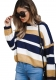 Round Neck Long Sleeve Stitching Loose Sweater Top