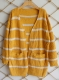 New Fashion Cardigans Striped Sweater with Pocket Yellow