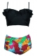 Retro Boho Flounce High Waist Swimsuit  Black