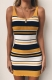 New Arrivals Colorful Striped Knitting Bodycon Dresses Yellow
