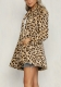 Long Sleeved Cardigan Leopard Woolen Coat