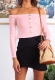 Long Sleeve Slash Neck Tops with Button Pink