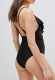 New Arrivals One Pieces Deep V-Neck Solid Swimwuit Black