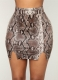Snake Print Hip-Length Skirt Khaki