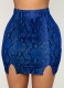 Snake Print Hip-Length Skirt Blue