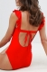 Solid Ruffled Backless Bandage Swimwear Red