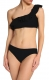 Black One Shoulder Ruflle 2pcs Bikini