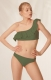 Army Green One Shoulder Ruflle 2pcs Bikini