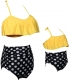 Ruffle Two Piece Girl Swimwear Mother and Daughter Family Matching Swimsuit