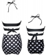 Black Crisscross Dot   Print Girl Swimwear  Family Matching Bikini Set