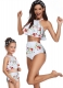 Halterneck Rose Print White Girl Bikini Set Family Matching Swimwear