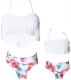 White Fringed Bikni Set Family Matching Swimsuit Girls Bathing Suit