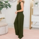 Sleeveless Army Green Wide Leg Jumpsuit Woman Romper with Pockets