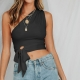 Sexy One Shoulder Sleeveless Black Tank Bowknot Woman Crop Top