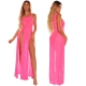 Fashion Design Chiffon Pink Beachwear Summer Solid Color Beach Cover up Dress
