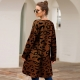 Amazon ebay hot sales Leopard Print Long Cardigan Brown