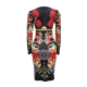 Black O-neck Long Sleeve Women Bodycon Print Dress