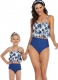 Floral Printed Top and Solid Bottom High Waist swimwear Set Blue