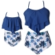 Blue Solid Ruffled Top and Floral Printed Bottom High Waist Swimwear Set