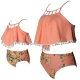 Orange Flounce Hollow Out Tassel Top Floral Printed Bottom High waist swimwear