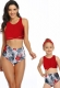 Red Front Knot Vest Floral Printed Bottom Two Piece Swimsuit