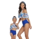 Blue Floral Printed Flounce Tassel Top Solid Bottom High waist swimwear
