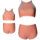 Pink Orange Front Zipper and Mesh White Trim Two Piece Swimsuit