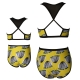 Yellow Printed Black Mesh Top Hollow Out Back Two Piece Swimsuit