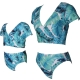 V-neck Blue Floral print Short Sleeve  Swimsuit Set