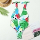 Green Print V-neck Shoulder Strap One Piece Swimsuit with removable BRA