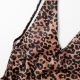 Leopard Print V-neck Shoulder Strap One Piece Swimsuit with removable BRA