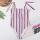 Multi-color Striped Print Halter knot Shoulder One Piece Swimsuit