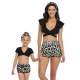 Black Top and Leopard Bottom Two Pieces  Matching Swimwear