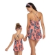 Multi-color V-neck Halter Strap Leaf Print Top and Blue Bottom Matching Swimwear