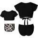 V-neck Short Sleeve Two Pieces  Matching Swimwear Black