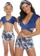 V-neck Short Sleeve Two Pieces Family  Matching Swimwear Blue