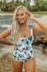 Green Floral Print Halter Knot One Piece Swimsuit