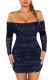 Royal Blue Off Shoulder Long Sleeve Sequin Bodycon Evening Dress