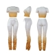 Women Fashion Gradient Ramp Two-Piece Set Crop Top Stacked Pants