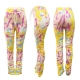Women Fashion Floral Print Tie-Dye Ruched Long Pants Pleated Women Trousers