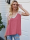 Ladies Casual V-Neck Lace Knit Patchwork T-Shirts Tops