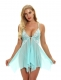 Hot Sexy Lingerie Lace Front Closure Mesh V-Neck Chemise Babydoll Nightwear Sleepwear