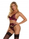 Women Sexy Lingerie Set with Garter Belt Lace Chemise Fashion Babydoll Bra Panty