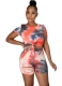 Women O-Neck Printed Twist Front Crop Top and Side Cutout Shorts Set