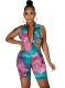 Women Butterfly Printed Zip Front Sleeveless Bodycon Rompers