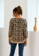 Women Crewneck Leopard Printed Ribbed Hem Sweater